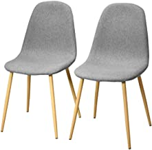 Giantex Set of 2 Kitchen Dining Chairs, Easily Assemble Modern Fabric Cushion Seat Chair w/Metal Legs, Mid Century Armless Chairs for Kitchen, Dining Room, Restaurant, Gray