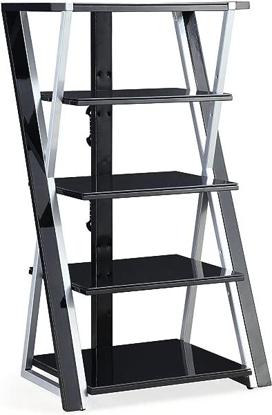 Whalen 48 Black Audio Video Tower Tempered Glass Shelves