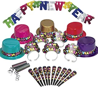Hats Silver Foil /& Shiny Latex Balloons Plates Trumpets Cups Tablecover Blowouts Flags Confetti 100 pcs SERVES 12 Metallic Napkins Birthday Party Decoration Kids Theme Assorted Pack