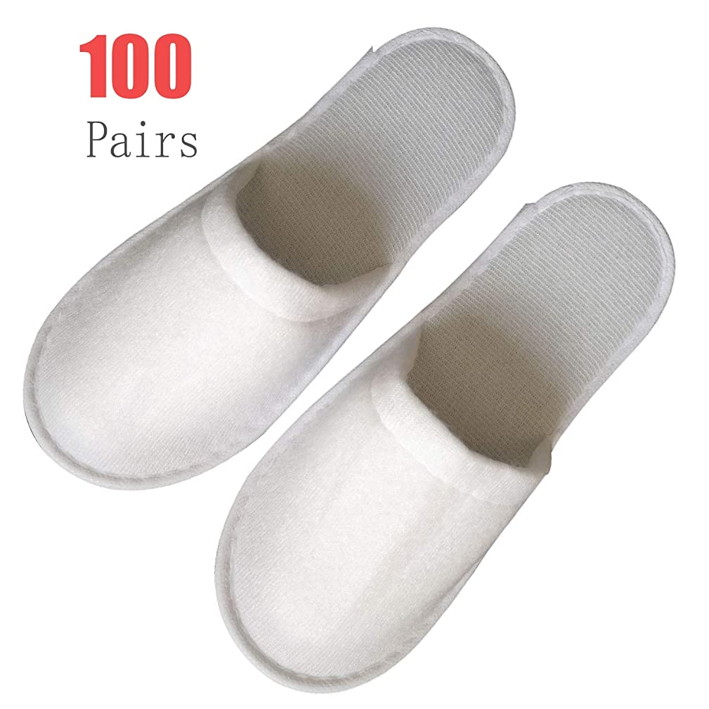 ANUO Women's Comfort Slip Waffle Slippers 100 Pairs Hotel Disposable Closed Toe Pull Plush Spa Slippers Men Universal Size (Color : Pull Plush 100 Pairs, Size : Free)