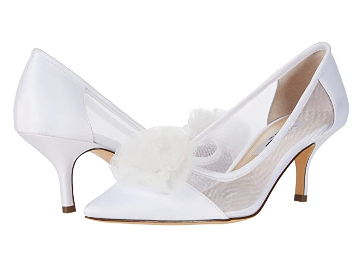 Nina  Bettey (White Luster Satin/Tulle/Mesh) Womens Shoes