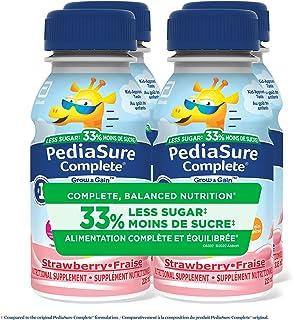 PediaSure Complete® Reduced Sugar, 33% Less Sugar, Nutritional Supplement, 4 x 235 mL, Strawberry - Kids Nutritional Shak...