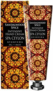 Spa Ceylon Luxury Ayurveda Sandalwood Spice Intensive Hand and Nail Cream, Natural Moisturizing Treatment with Pure Essential Oils Aromatherapy, 30 Grams
