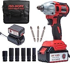 Chave de impacto sem fio – Chave de impacto elétrica JSD 20V (bateria 4.0Ah, motor sem escova, mandril rápido de 1/2 e 1/4...