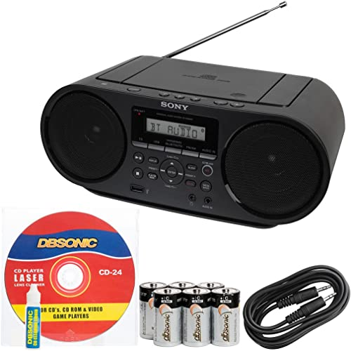 2021 Sony new arrival Portable Mega Bass Stereo Boombox Sound System with outlet online sale NFC Wireless Bluetooth, USB Input, MP3 CD Player, AM/FM Radio, 30 Presets, Headphone & AUX Jack + DB Sonic AUX Cable, Head Cleaner & Batteries online