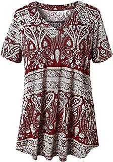 Women's Summer Plus Size Short Sleeve V Neck Tops Shirts Casual T-Shirt Tops Loose Blouse Gogoodgo