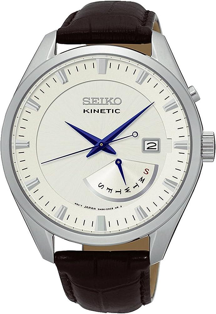 Seiko orologio per uomo con cinturino in pelle  e cassa in acciaio inssidabile SRN071P1