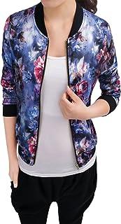 Allegra K Women`s Stand Collar Zip Up Floral Prints Bomber Jacket