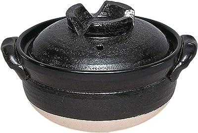 佐治陶器 黒 17cm 萬古焼 深型 土鍋 5.5号 黒釉 32-568