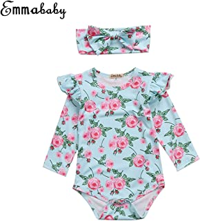 Emmababy Baby Girls' Floral Sleeve Botton Romper Cute Bodysuit Clothes