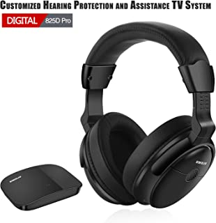 SIMOLIO Hearing Protection Wireless TV Headphones, Over Ear for Seniors Hard of Hearing, 2.4GHz Wireless TV Hearing Aid Device with Extra Battery, Support Optical RCA AUX, 100 ft Range, USB Charging