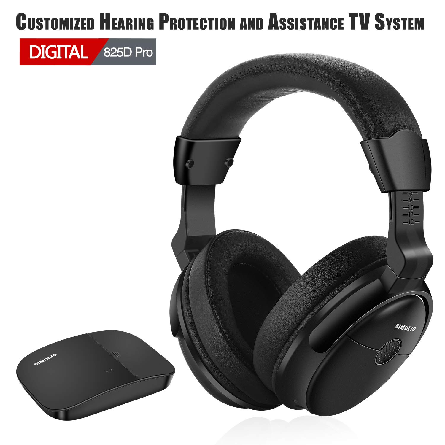 SIMOLIO SM 825D Pro Hearing Protection Wireless TV Headphones for Seniors and Hard of Hearing, Digital Wireless Headphones with Optical for TV, 2.4GHz