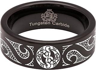 أصدقاء الحديد الأسود كربيد التنجستن ماوري خاتم الزفاف الذكرى السنوية للرجال والنساء 8 ملم حجم 14