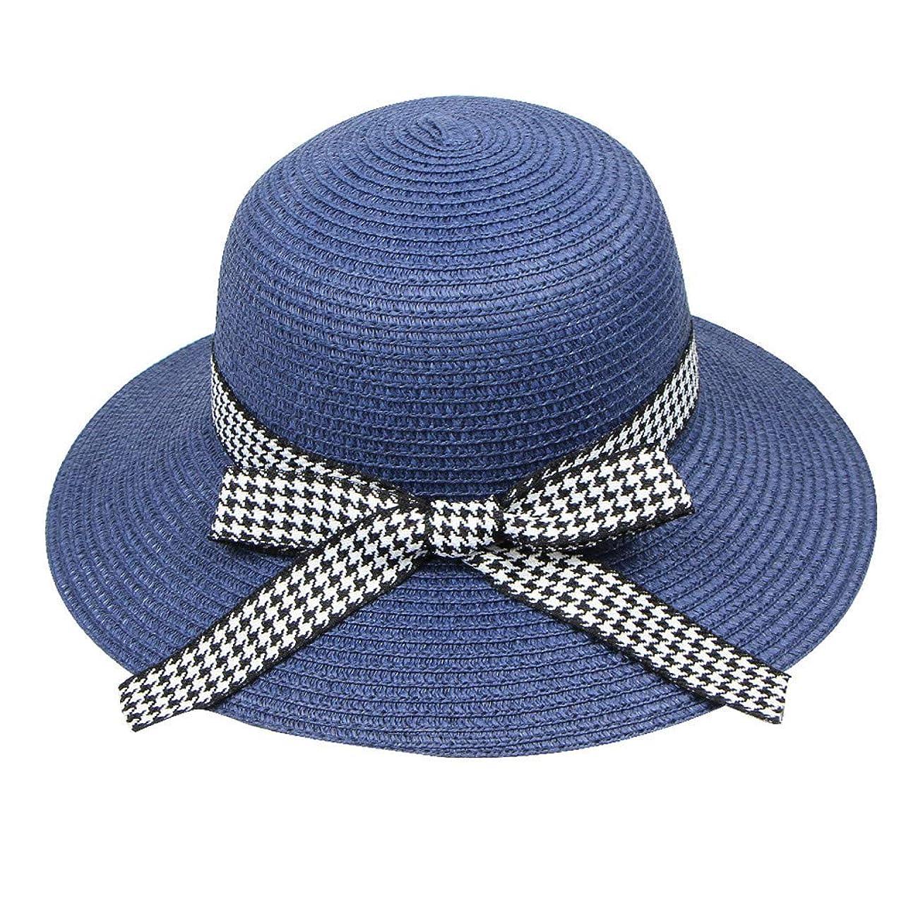 確立します容疑者談話麦わら帽子 レディース 夏 ハット UVカット 帽子 日焼け防止 ストリーマ 千鳥格子 蝶結び 帽子 レディース 紫外線100%カット UV ハット 可愛い 小顔効果抜群 日よけ 折りたたみ つば広 ROSE ROMAN