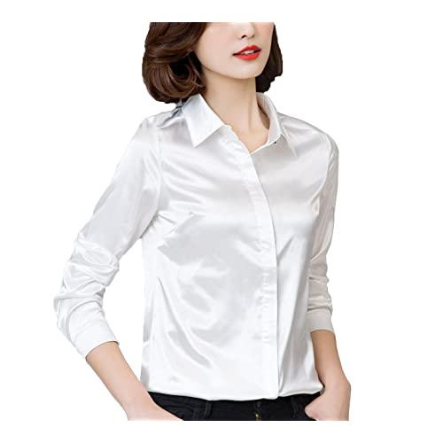 752841cb1 YOUMU Women Satin Silk Long Sleeve Button-Down Shirt Formal Work Silky  Blouse Top Black
