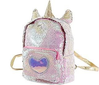 Unicorn Sequin Backpack Glitter Shining Bag Lovely Heart Casual Travel Daypack For Girls (Gold)