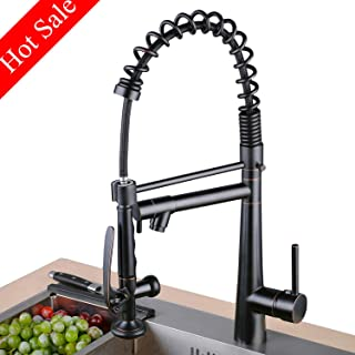 Lead-Free Commercial Oil Rubbed Bronze Brass Single Handle Single Lever Pull Out Pull Down Sprayer Spring Bar Sink Kitchen Sink Faucet,Kitchen Faucets with 2-Mode Sprayer