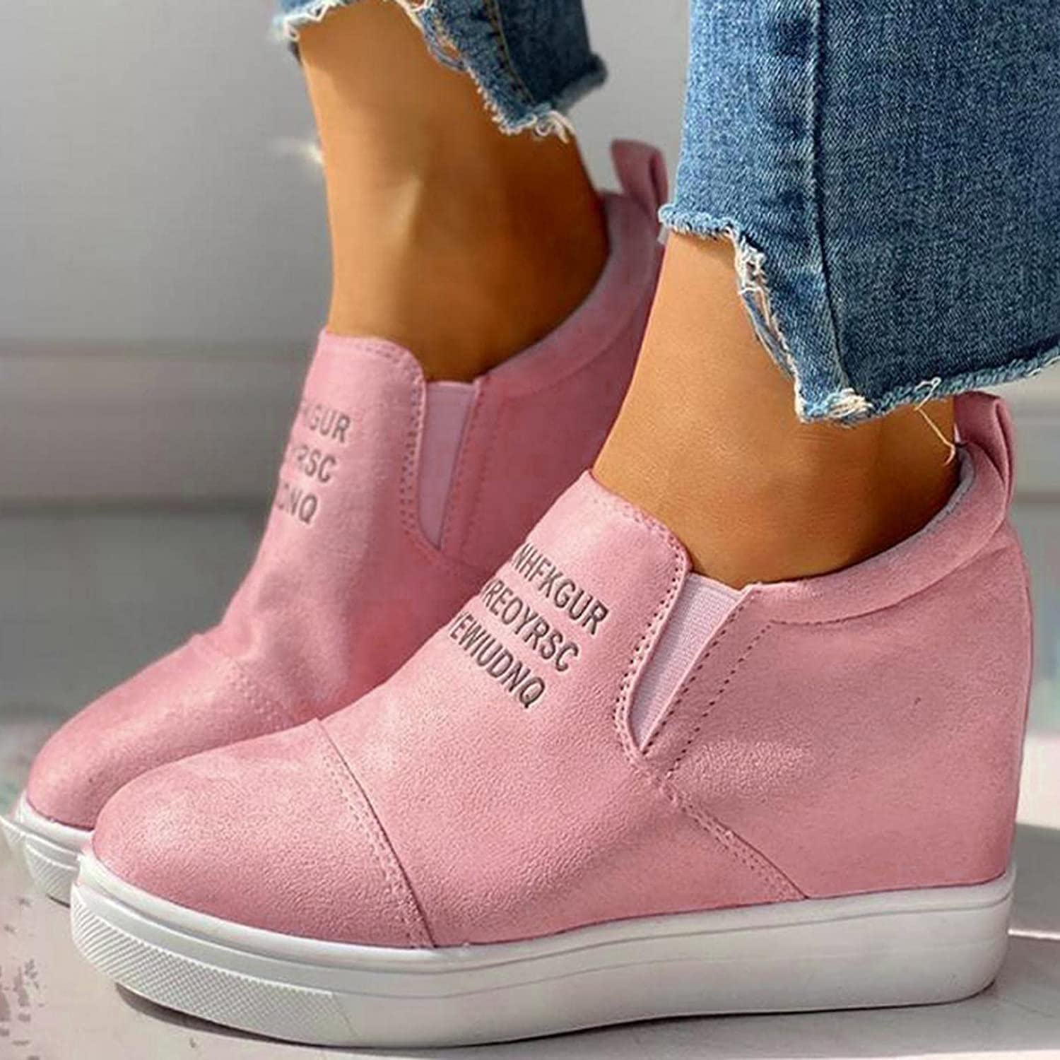 AODONG Sneakers for Women Round Toe Slip-On Sneaker Wedge Heel Platform Ankle Boots Soft Fashion Casual Flat Sneakers