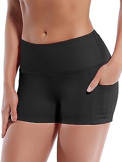 "BUBBLELIME 2.5""/4"" Basic/Out Pockets High Waist Women Yoga Shorts Tummy Control 4 Way Stretch Workout Running Shorts"
