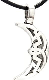 Trilogy Jewelry Pewter Crescent Moon Celtic Knot Pagan Pendant on Leather Necklace