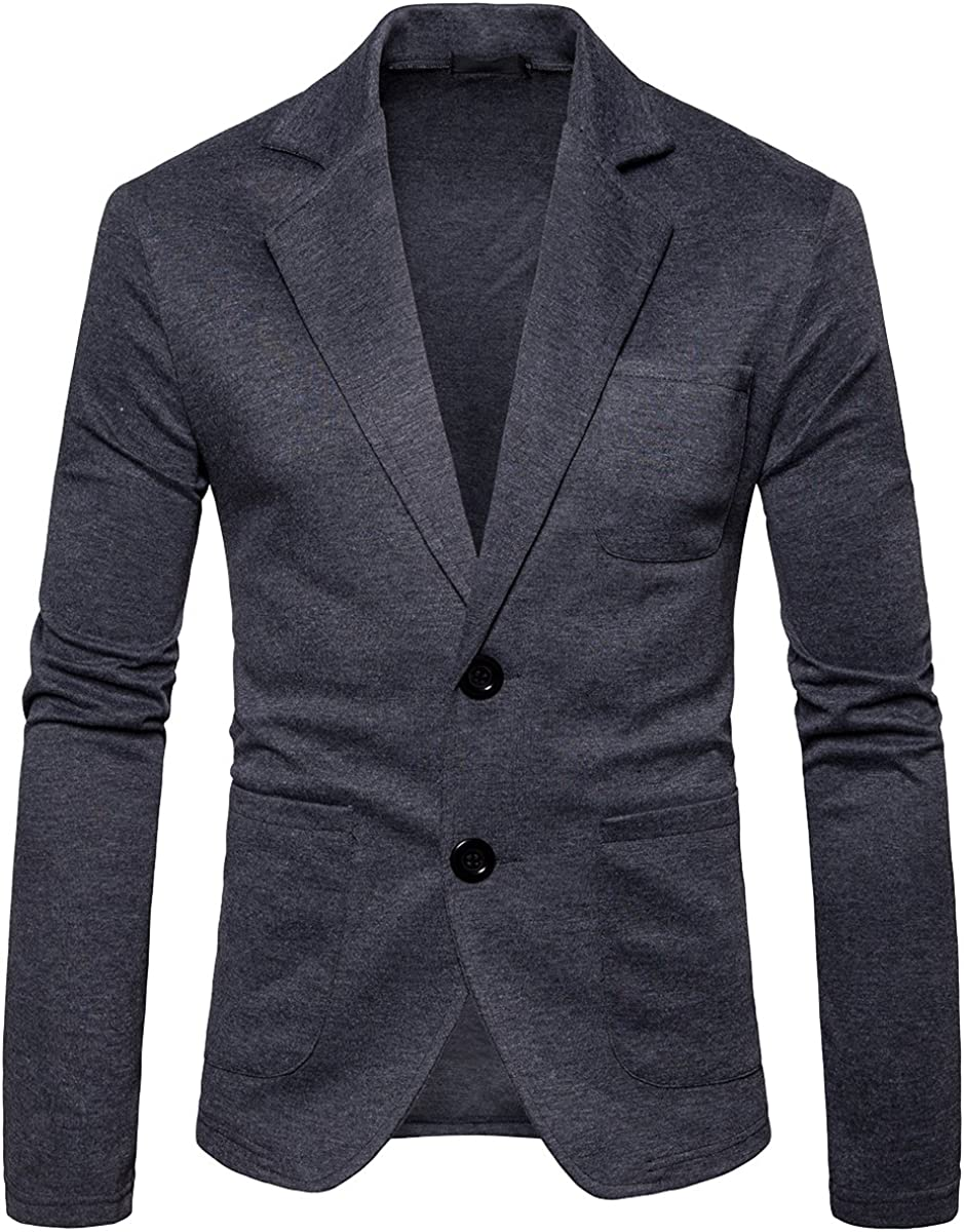 Cottory Mens Casual Double Button Solid Blazer Sport Coat