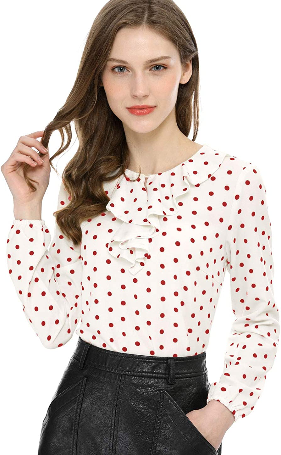 1930s Style Blouses, Shirts, Tops   Vintage Blouses Allegra K Womens Ruffle Neck Long Sleeve Vintage Heart Polka Dots Blouse Tops  AT vintagedancer.com
