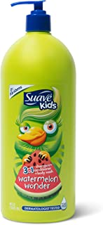 Suave Kids 3 in 1 Shampoo Conditioner Body Wash For Tear-Free Bath Time, Watermelon Wonder, Dermatologist-Tested Kids Sham...