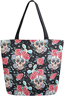 ZzWwR Day of The Dead Sugar Skull Cactus Floral Extra Large Canvas Market Beach Travel Reusable Grocery Shopping Tote Bag Portable Storage HandBags