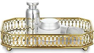 Nuptio Plateau Maquillage Verre Miroir, Plateau Decoratif Rectangle Or Plaque Bougie Plateau À Bijoux Organisateur de Rang...