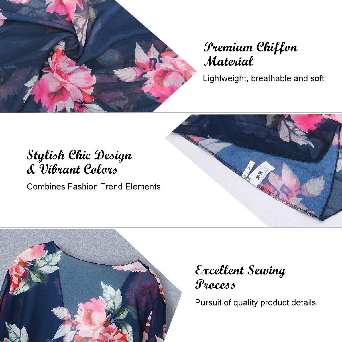para mujer informal dise/ño floral Chaquetas de chal floral para mujer estilo boho y verano para playa Yonhee