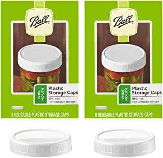 Ball Wide Mouth Plastic Storage Caps, 8-Count per pack (2-Packs)