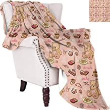 MKOK Kids Rugged or Durable Camping Blanket Teddy Bear with Cupcakes Cookies Donuts Cakes Cute Playroom Cartoon Print Warm and Washable W60 x L70 Inch Coral Pink Sand Brown