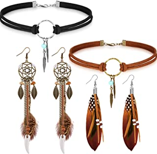 Native American Jewelry Set for Women Girls, 2 Pieces Faux Suede Choker Necklace Faux Leather Choker and 2 Pairs Bohemian ...