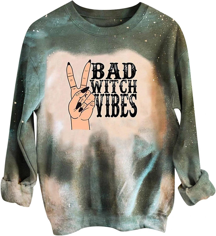 AODONG Halloween Sweatshirt Loose Crewneck Long Sleeve Pullover Top for Women Pumpkin Shirt