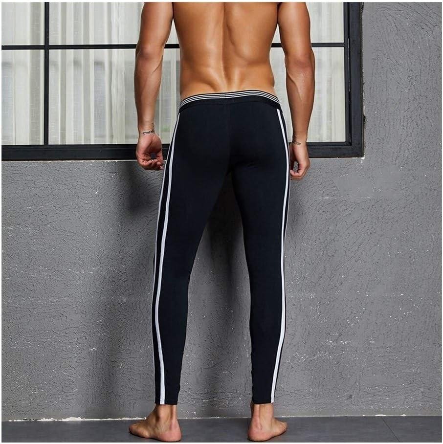 QWERBAM Men's Thermal Underwear Winter Warm Cotton Pants Pouch Men Legging Tight Pajama Bottom Sleep Pant Low Rise (Color : Black, Size : Medium)