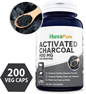 Activated Charcoal 900mg 200 Veggie Capsules (Non-GMO & Gluten Free) - Detox Naturally and Safely, Reduce Gas, Bloating and Indigestion - 100% Tasteless - 450mg per Caps
