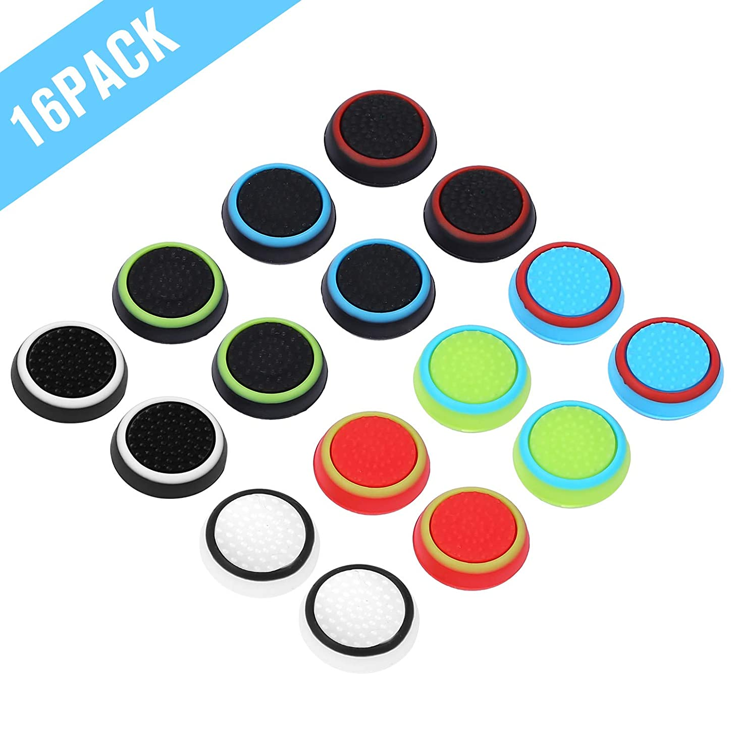 Obeka 8 Pairs Thumb Grips Silicone Analog Stick Covers Thumbstick Controller Replacement Joystick Cap Compatible PS4 PS3 PS2 Xbox One Xbox 360 Wii U – Assorted