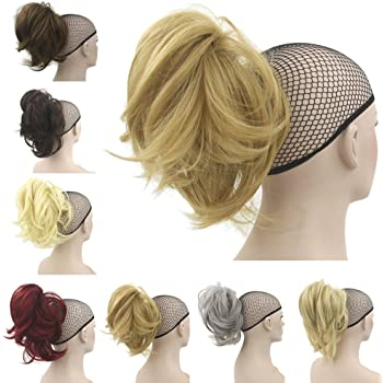 Amazon Com Deniya Short Hair Pieces And Ponytails For Women Claw Clip In Hair Extension Short Curly Synthetic Beauty
