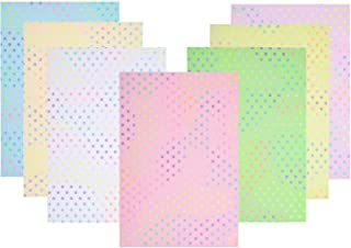 ULTNICE 7 Sheets Craft Fabric Sheets Glitter Dots Gorgeous PU Faux Leather Synthetic Craft Fabric for DIY Bows Earrings Ma...