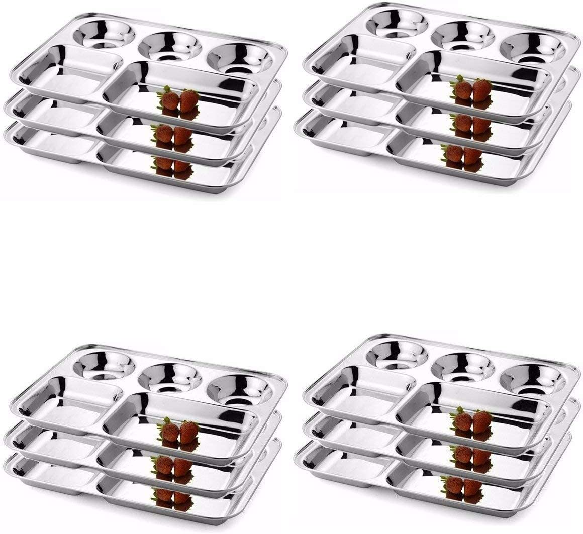 IndiaBigShop Stainless Steel Five Compartment OFFicial Weekly update Rectangle Plates