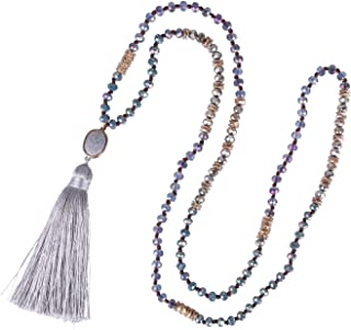 KELITCH Boho Tassel Pendant Necklace Glass Crystal Beaded Chain with Semi-Precious Stone Charm