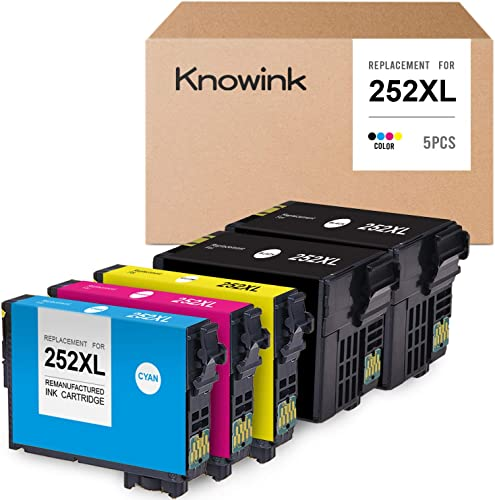 lowest KNOWINK Remanufactured Ink Cartridge Replacement for Epson 252XL 252 XL T252XL120 popular Ink use with Workforce WF-7110 WF-7720 lowest WF-7710 WF-3620 WF-3640 (Black,Cyan,Magenta,Yellow 5-Pack) sale