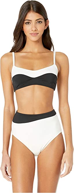 Color Block Two-Piece Bralette Bikini Set w/ High-Waisted Bottoms