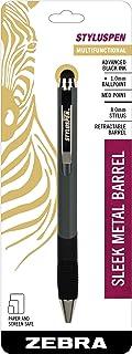 Zebra StylusPen Retractable Ballpoint Pen, Medium Point, 1.0mm, Black Ink, Slate Grey Barrel, 1-Count