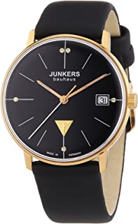 Junkers Women's Bauhaus Quartz Watch with Black Dial Analogue Display and Black Leather Strap