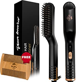 Beard Straightener and Hair Straightener Brush - Multifunctional Electric Beard Comb and Heated Beard Brush with Dual Voltage 110-240V, for All Hair Types, Great for Travel