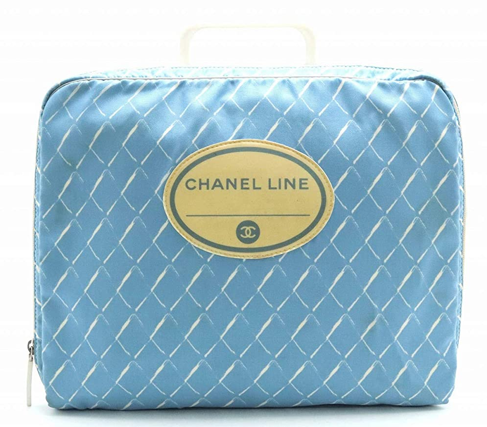 肥料ストリップ偽造[シャネル] CHANEL ハンドバッグ ブリーフケース 書類カバン ビジネスバッグ ナイロン プラスチック ブルー 青 ホワイト 白 [中古]