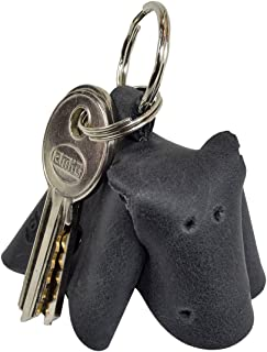 Critter Keychain Hippo Fob Charm Rustic Leather Animal Key Holder Charm Pendant Handmade by Hide & Drink :: Charcoal Black