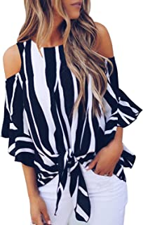 Womens Striped Cut Out Cold Shoulder Tops 3 4 Flare...
