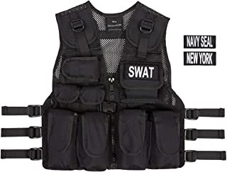 Kids SWAT, Navy Seal, New York Black Combat Vest + Free Swat Dog Tags, Ages 5-12